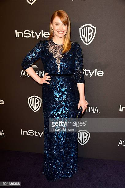 Actress Bryce Dallas Howard attends InStyle and Warner Bros 73rd Annual Golden Globe Awards PostParty at The Beverly Hilton Hotel on January 10 2016...
