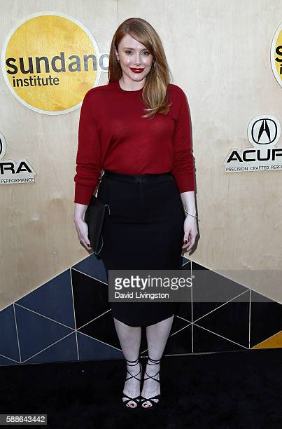 Actress Bryce Dallas Howard attends the Sundance Institute NIGHT BEFORE NEXT event at The Theatre at The Ace Hotel on August 11 2016 in Los Angeles...