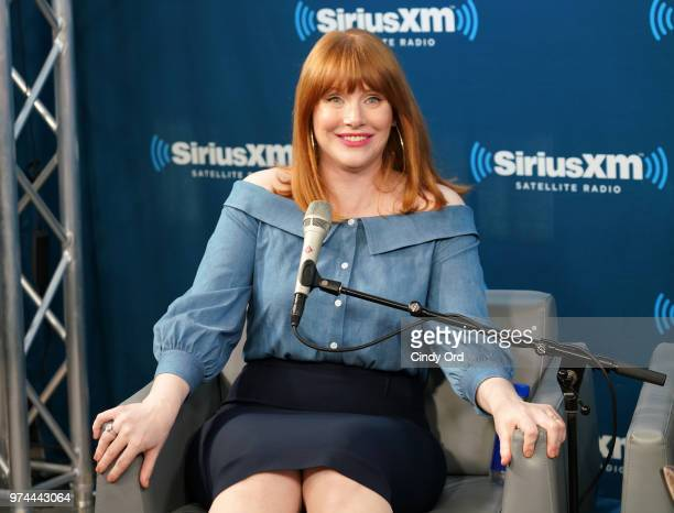 Actress Bryce Dallas Howard takes part in 'SiriusXM's Town Hall with the cast of 'Jurassic World Fallen Kingdom' at the SiriusXM Studios on June 14...