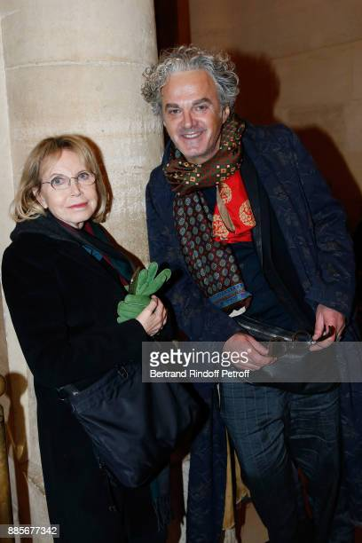 Actress Bulle Ogier and writer Jean-Michel Parker attend the Tribute to Actress Jeanne Moreau at Odeon Theatre on December 4, 2017 in Paris, France.