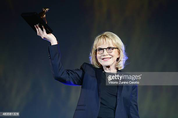 Actress Bulle Ogier receives the Pardo alla Carriera Award on August 10, 2015 in Locarno, Switzerland.