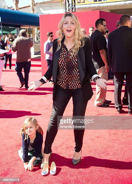 Actress Busy Philipps and her daughter Birdie Leigh Silverstein arrive at the Los Angeles premiere of 'The Lego Movie' at the Regency Village Theatre...