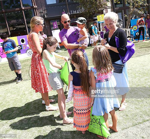 Actress Busy Philipps and her daugthers Birdie Silverstein and Cricket Silverstein and Yoobi Cofounder/CEO Ido Leffler attends Yoobi Fun Day at The...