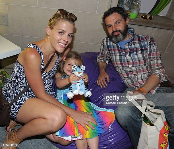 Actress Busy Philipps daughter Birdie Leigh Silverstein and husband Marc Silverstein plays Kinect for Xbox 360 at Kidstock at Greystone Mansion on...