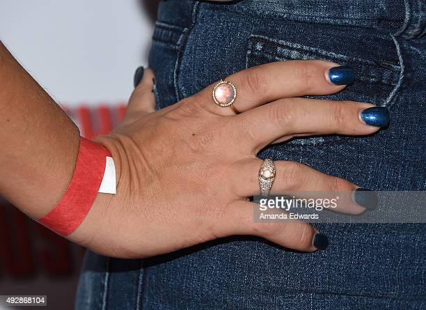 Actress Busy Philipps ring and manicure detail arrives at the premiere of Gravitas Ventures' 'All Things Must Pass' at the Harmony Gold Theatre on...