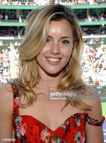 Actress Caggie Dunlop visits the Moet and Chandon Suite at the 2016 BNP Paribas Open on March 19 2016 in Indian Wells California