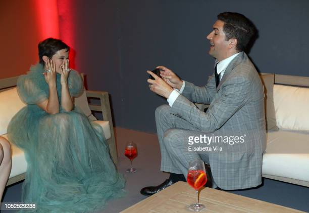 Actress Cailee Spaeny and director Drew Goddard are seen at the Campari Red Room during the 13th Rome Film Fest at Auditorium Parco Della Musica on...