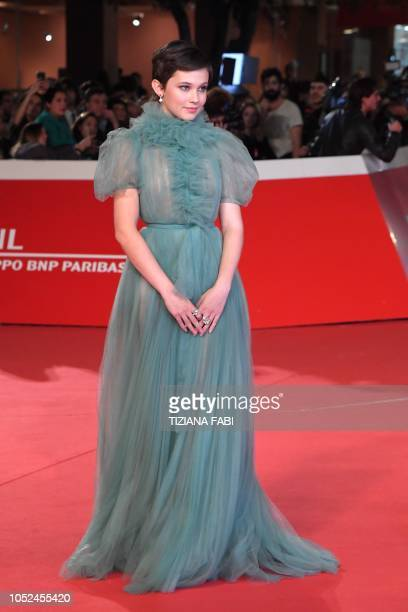 US actress Cailee Spaeny poses as she arrives for the screening of the film Bad Times at the El Royale during the opening of the 2018 Rome Film...