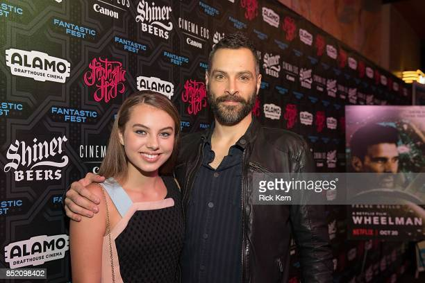 Actress Caitlin Carmichael and director Jeremy Rush at the Netflix Films Wheelman Premier at Fantastic Fest at the Alamo Drafthouse on September 22...