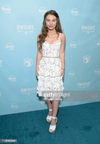 Actress Caitlin Carmichael attends a special Los Angeles screening of BYUtv's new series Dwight In Shining Armor at Pacific Theatres at The Grove on...