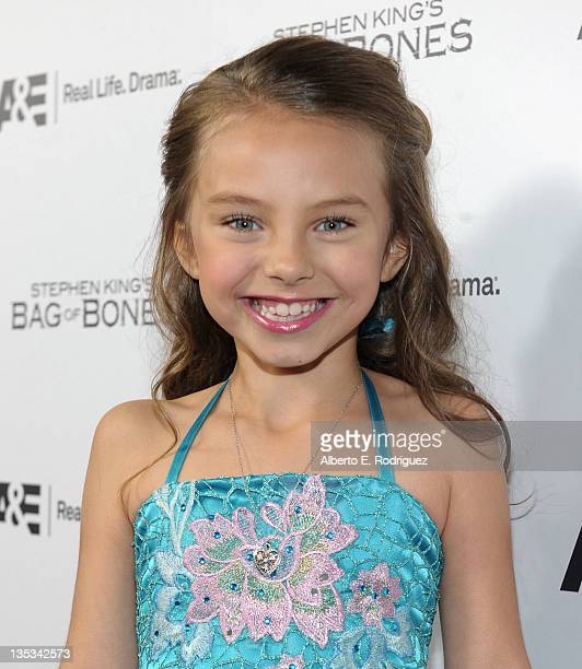 Actress Caitlin Carmichael attends AE's premiere party event for Stephen King's Bag of Bones at Fig Olive Melrose Place on December 8 2011 in West...