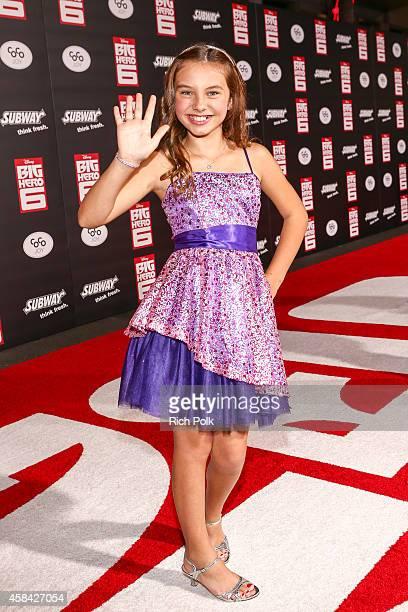 Actress Caitlin Carmichael attends the Los Angeles Premiere of Walt Disney Animation Studios Big Hero 6' at El Capitan Theatre on November 4 2014 in...