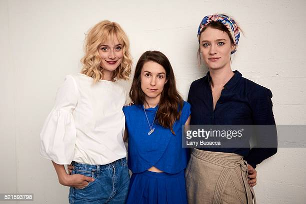 Actress Caitlin FitzGerald director Sophia Takal and actress Mackenzie Davis from Always Shine pose at the Tribeca Film Festival Getty Images Studio...