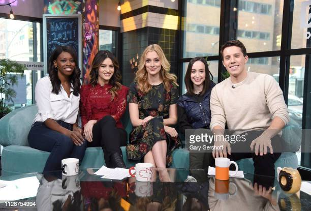 Actress Caitlin Fitzgerald poses with hosts Brittany JonesCooper Sandra Vergara Ali Kolbert and Lukas Thimm during the Build Brunch at Build Studio...