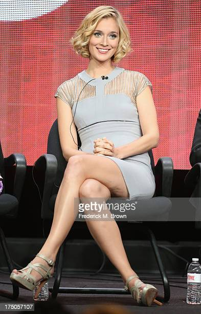 Actress Caitlin Fitzgerald speaks onstage during the Masters of Sex panel discussion at the CBS Showtime and The CW portion of the 2013 Summer...