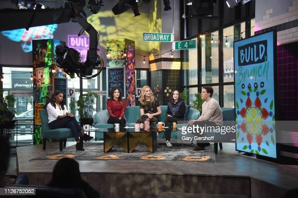 Actress Caitlin Fitzgerald visits the Build Brunch with hosts Brittany JonesCooper Sandra Vergara Ali Kolbert and Lukas Thimm at Build Studio on...