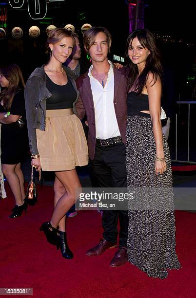 Actress Caitlin Gerard actor Andrew James Allen and actress Melanie Papalia attend 'Smiley' Los Angeles Premiere at AMC Universal City Walk on...