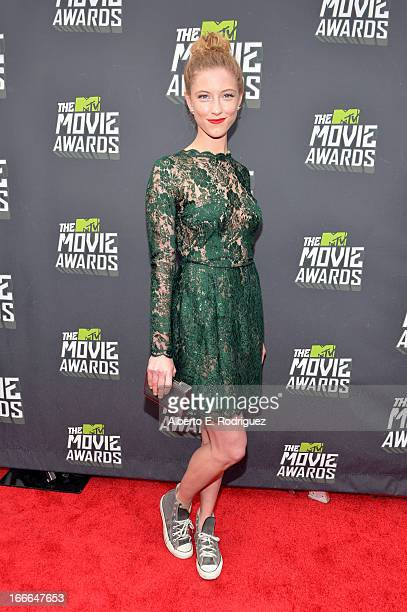 Actress Caitlin Gerard arrives at the 2013 MTV Movie Awards at Sony Pictures Studios on April 14 2013 in Culver City California