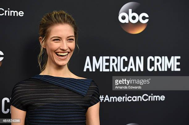 """Actress Caitlin Gerard arrives at the """"American Crime"""" premiere event at the Ace Hotel on February 28, 2015 in Los Angeles, California."""