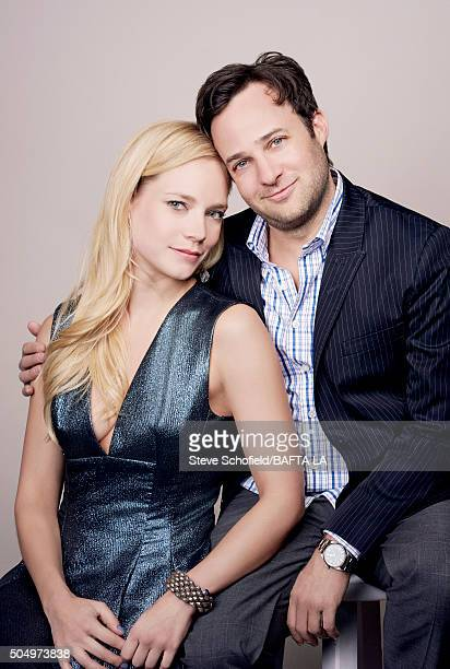 Actress Caitlin Mehner and producer Danny Strong pose for a portrait at the BAFTA Los Angeles Awards Season Tea at the Four Seasons Hotel on January...