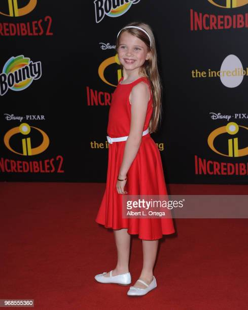 Actress Caitlin Reagan arrives for the Premiere Of Disney And Pixar's Incredibles 2 on June 5 2018 in Los Angeles California