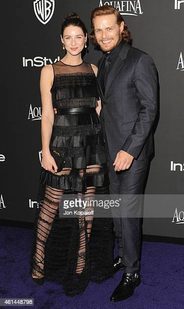 Actress Caitriona Balfe and actor Sam Heughan arrive at the 16th Annual Warner Bros. And InStyle Post-Golden Globe Party at The Beverly Hilton Hotel...