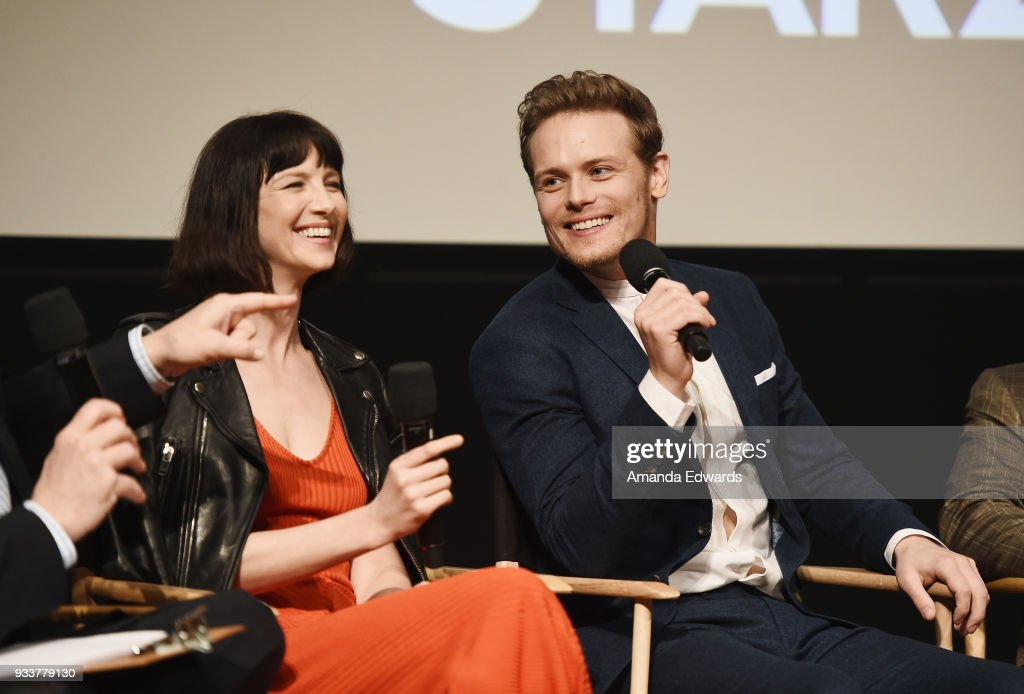 Actress Caitriona Balfe (L) and actor Sam Heughan attend Starz's 'Outlander' FYC Special Screening and Panel at the Linwood Dunn Theater at the Pickford Center for Motion Study on March 18, 2018 in Hollywood, California.