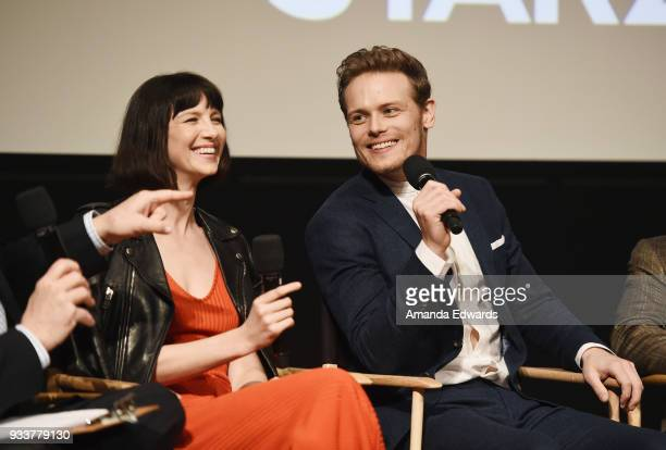 Actress Caitriona Balfe and actor Sam Heughan attend Starz's 'Outlander' FYC Special Screening and Panel at the Linwood Dunn Theater at the Pickford...
