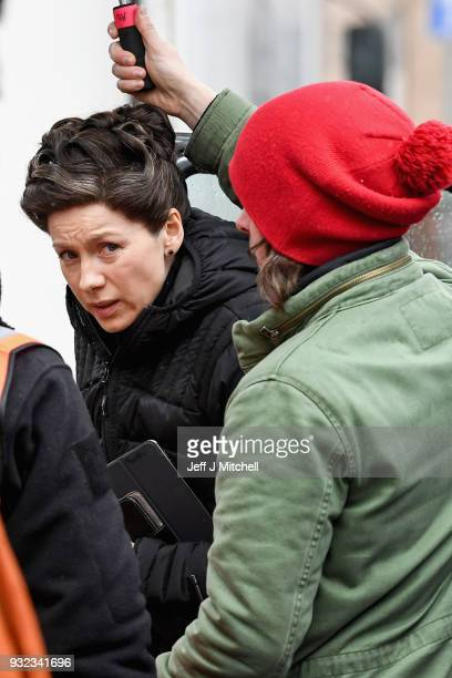 Actress Caitriona Balfe from the TV series Outlander arrives at a filming location at St Andrew's Square on March 15 2018 in Glasgow Scotland Dozens...
