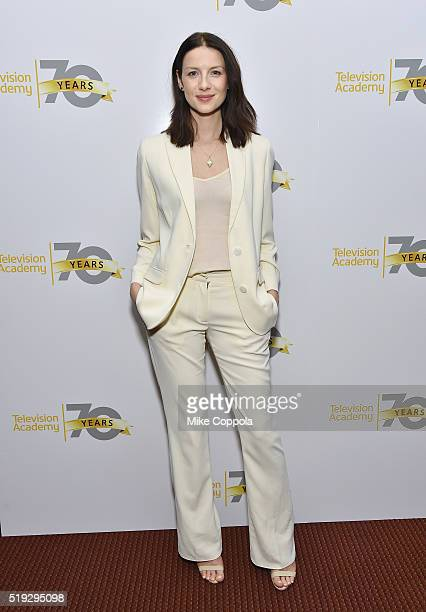 Actress Caitriona Balfe poses for a picture as the Television Academy Presents Outlander Panel Discussion at NYU Skirball Center on April 5 2016 in...