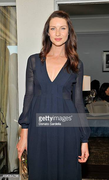 Actress Caitriona Balfe wearing Burberry at Eddie Redmayne Vanity Fair And Burberry Celebrate BAFTA Los Angeles and the Britannia Awards at Chateau...