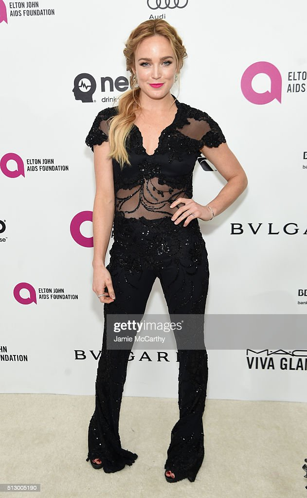 Actress Caity Lotz attends the 24th Annual Elton John AIDS Foundation's Oscar Viewing Party at The City of West Hollywood Park on February 28, 2016 in West Hollywood, California.