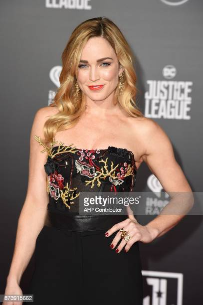 US actress Caity Lotz poses as she arrives for the world premiere of Warner Bros Pictures film 'Justice League' at The Dolby Theatre in Hollywood...