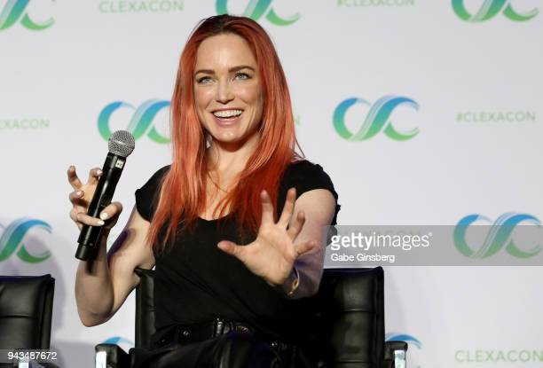 Actress Caity Lotz speaks at the Legends of Tomorrow panel during the ClexaCon 2018 convention at the Tropicana Las Vegas on April 8 2018 in Las...
