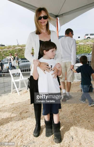 Actress Calista Flockhart and son Liam at PS Arts 10th Annual Exspress Yourself Gala at Barker Hanger on November 4 2007 in Santa Monica California