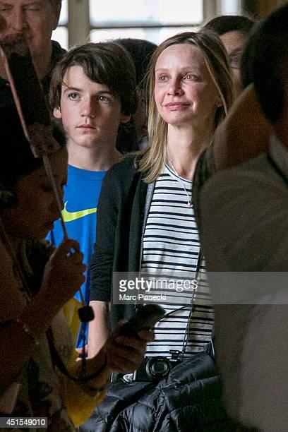 Actress Calista Flockhart and son Liam Flockhart are seen visiting the 'Chateau de Versailles' on July 1 2014 in Versailles France