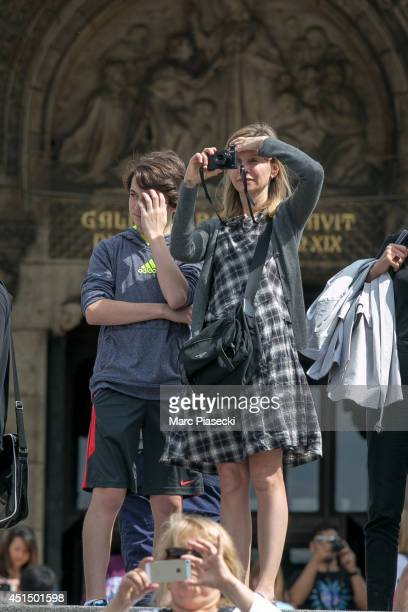 Actress Calista Flockhart and son Liam Flockhart are sighted in the 'Montmartre' district on June 30 2014 in Paris France