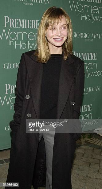 Actress Calista Flockhart arrives 11 October 2000 at Premiere magazine's 7th annual Women in Hollywood luncheon honoring Drew Barrymore Holly Hunter...