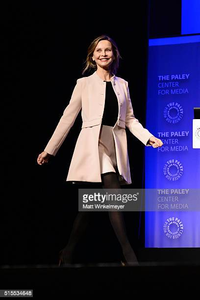 Actress Calista Flockhart attends The Paley Center For Media's 33rd Annual PALEYFEST Los Angeles 'Supergirl' at Dolby Theatre on March 13 2016 in...