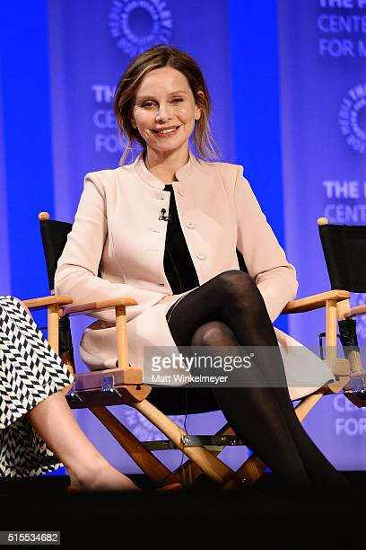 Actress Calista Flockhart attends The Paley Center For Media's 33rd Annual PALEYFEST Los Angeles Supergirl at Dolby Theatre on March 13 2016 in...