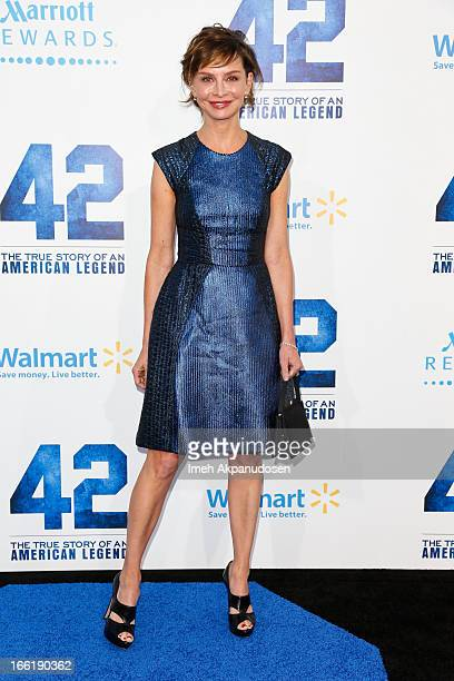 Actress Calista Flockhart attends the premiere of Warner Bros Pictures' And Legendary Pictures' '42' at TCL Chinese Theatre on April 9 2013 in...