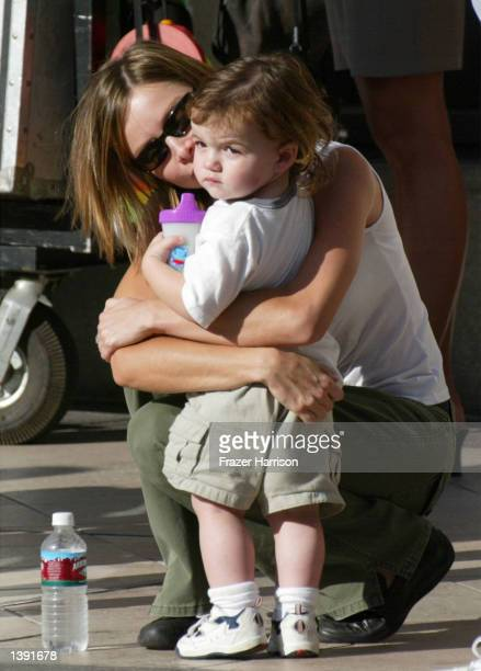 Actress Calista Flockhart kisses her son Liam on the set of her boyfriend actor Harrison Ford's upcoming movie Two Cops on Rodeo Drive on September...