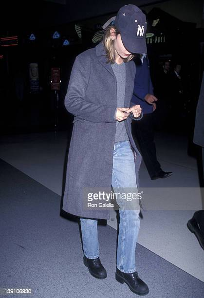 Actress Calista Flockhart on November 29 1998 arrives at the Los Angeles International Airport in Los Angeles California