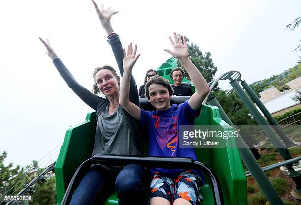 Actress Calista Flockhart rides on a rollercoaster with her son Liam while at Legoland California on Friday August 24 2012 in CArlsbad California