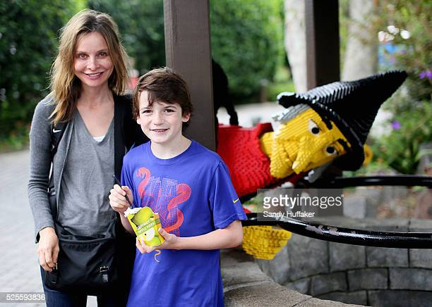 Actress Calista Flockhart with her son Liam while at Legoland California on Friday August 24 2012 in CArlsbad California