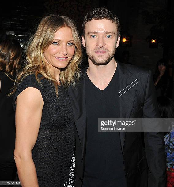 Actress Cameron Diaz and actor/singer Justin Timberlake attend the after party for the premiere of Bad Teacher at the The Bowery Hotel on June 20...