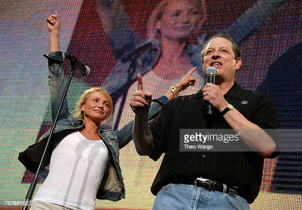 Actress Cameron Diaz and Former Vice President Al Gore during Live Earth New York at Giants Stadium on July 7 2007 in East Rutherford New Jersey