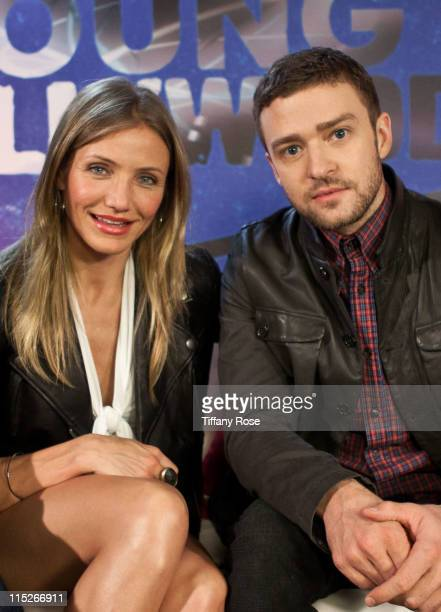 Actress Cameron Diaz and Justin Timberlake visit YoungHollywoodcom to promote Bad Teacher at the Young Hollywood Studio on June 5 2011 in Los Angeles...