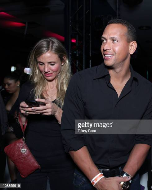Actress Cameron Diaz and MLB player Alex Rodriguez of the New York Yankees attend Capital A Presents P. Diddy Super Bowl Party at Music Hall at Fair...