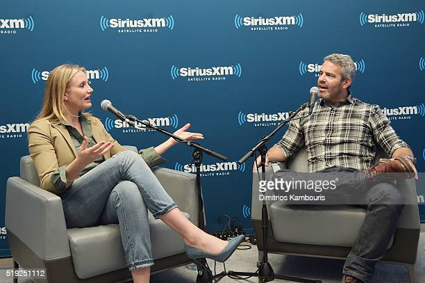 Actress Cameron Diaz and TV personality Andy Cohen speak on SiriusXM's Town Hall on Andy Cohen's exclusive SiriusXM channel Radio Andy on April 5...